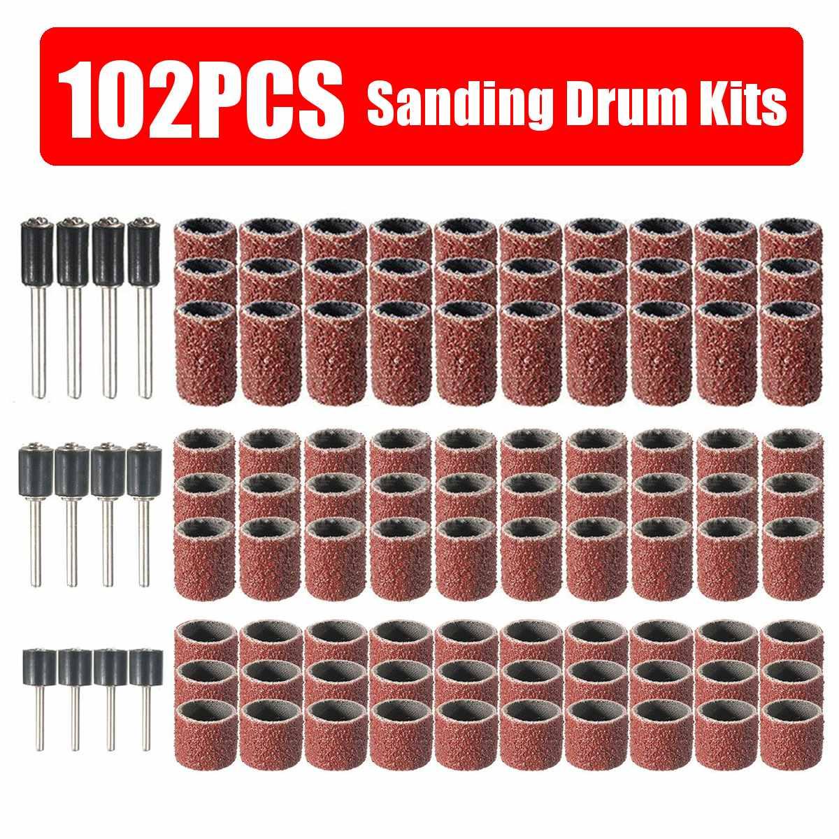 102pcs 120 Grit Drum Sanding Kit With 1//2 3//8 1//4 Inch Sanding Mandrels Fit Dremel Rotary Tools