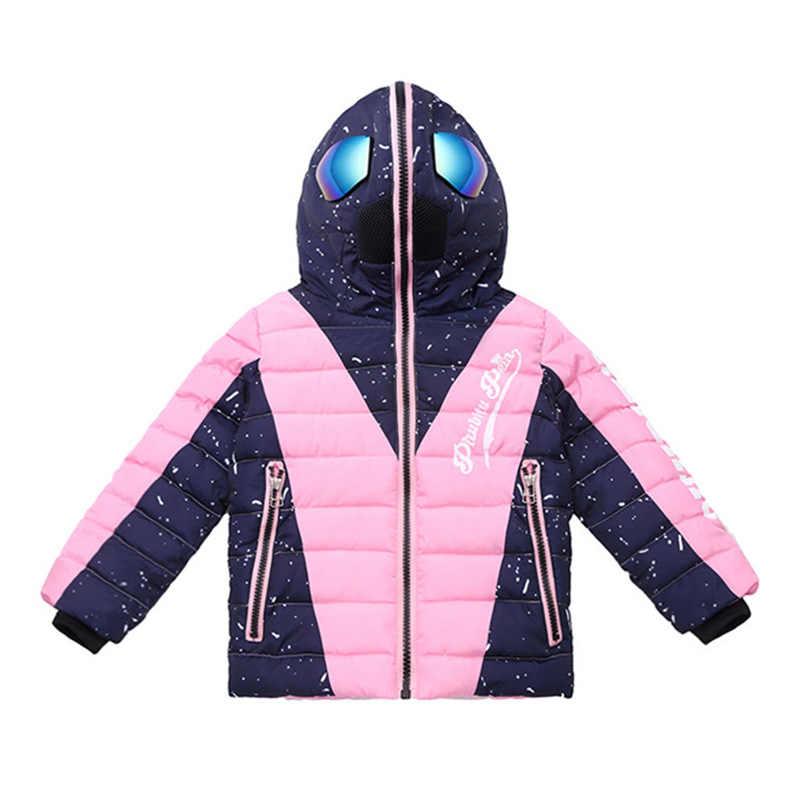 Çocuklar kız kış ceket gözlük çocuk sıcak moda Parkas gözlük ceket Hood ceket kızlar için gençler kış giysileri 14 -4 T