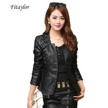 Женская байкерская куртка ftaylor, Черная/красная куртка из искусственной кожи большого размера 4XL