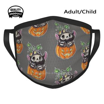 Skele Puffling Cycling Hunting Hiking Camping Mouth Mask Puff Monster Monster Pumpkin Halloween Skeleton image