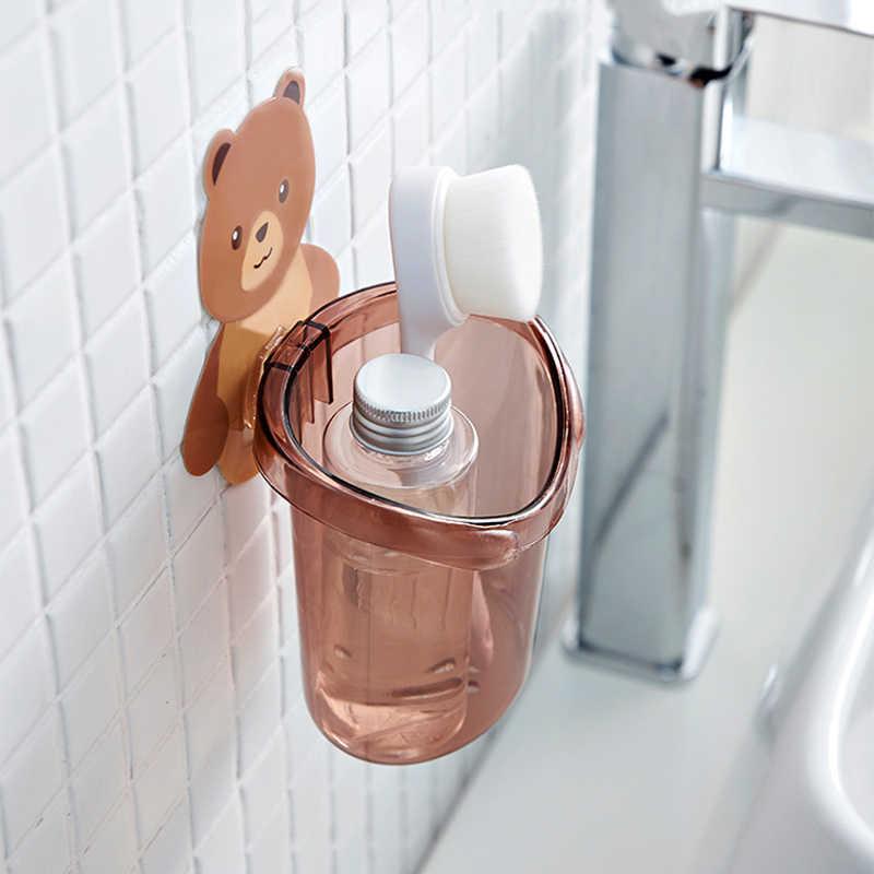 Do montażu na ścianie niedźwiedź kubek na szczoteczki do zębów zębów pasta do zębów stojak do przechowywania darmowa wykrawania uchwyt na kubek golarka dozownik łazienka organizator