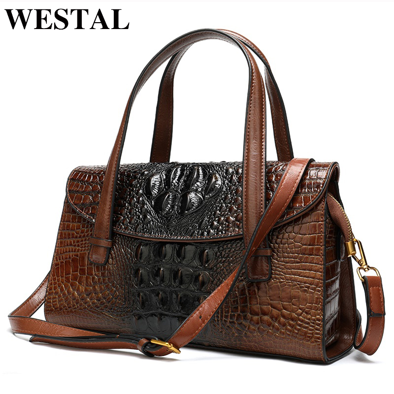 Image 2 - WESTAL handbags womens genuine leather alligator design womens 