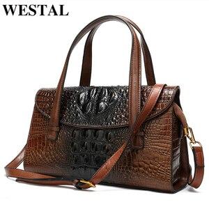 Image 2 - WESTAL handtaschen frauen aus echtem leder alligator design frauen leder handtaschen messenger/schulter taschen großen griff top tasche