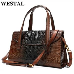 Image 2 - WESTAL กระเป๋าผู้หญิงของแท้หนังจระเข้สตรีกระเป๋าหนัง messenger/กระเป๋าไหล่ใหญ่ handle top กระเป๋า
