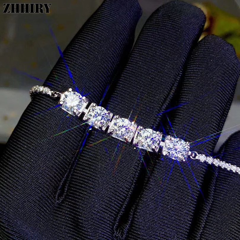 ZHHIRY Real Moissanite 925 Sterling Silver Bracelet For Women Genuine 5*5mm Total 2.5 Carats D VVS Gemstone Fine Jewelry