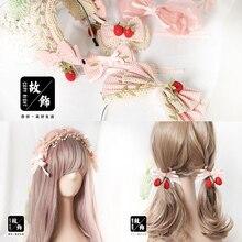 Hair-Accessories Handmade Strawberry Lolita Hairband Pink Bow KC Plaid