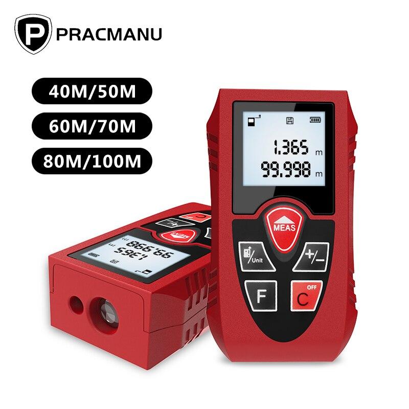 PRACMANU Laser-entfernungsmesser 40M 60M 80M 100M Digitale Laser Abstand Meter Batterie-Powered Laser Meter gerät Herrscher Test Werkzeug