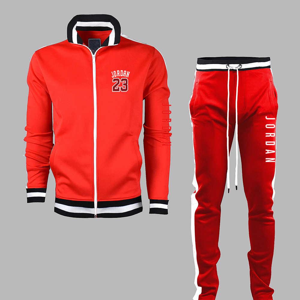 Merk Kleding Mannen Sets Twee Piecescasual Sweatshirts Rits Katoen Mannen Trainingspak Hoodies + Broek Sport Shirts Herfst Winter Set