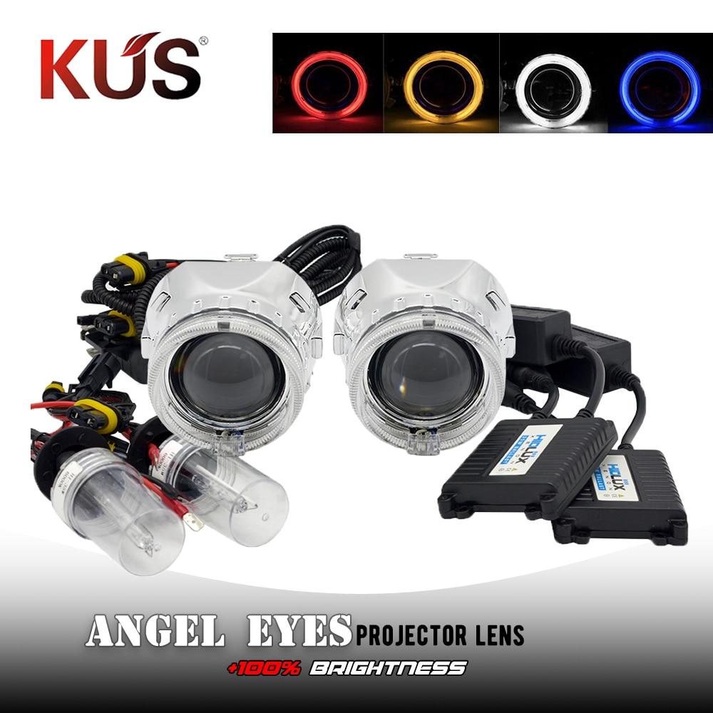 2.5 pouces H1 Mini Bixenon projecteur lentille ange yeux DRL Shrouds masque Hid H1 xénon Kit Coversion ensemble pour H4 H7 voiture phare