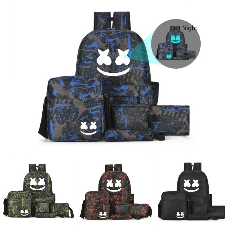 5 PCS Multifunction Backpack Set Boys Teenagers Student School Bags Girls Luminous Travel Shoulder Bag