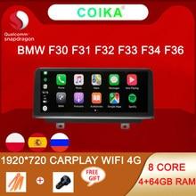 Système multimédia stéréo pour BMW, avec WIFI, 4G LTE, RAM 4 + 64 go, 1920x720, navigation GPS, pour modèles F30, F31, F32, F33, F34, F36 12-16, Android 10, 8 cœurs