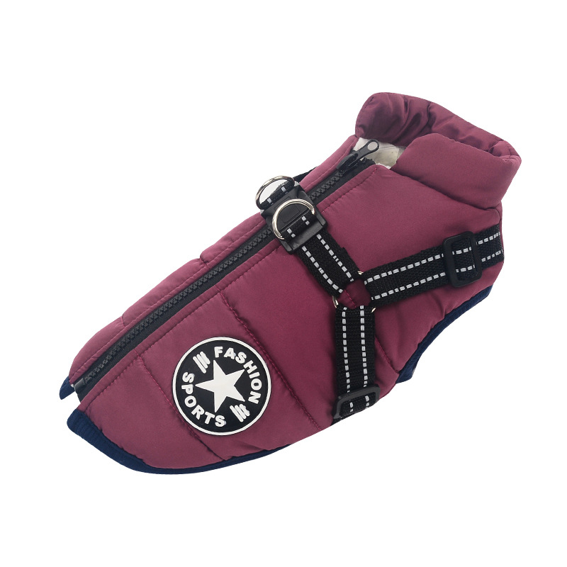 Purple-Large Pet Dog Jacket With Harness Winter Warm Dog Clothes