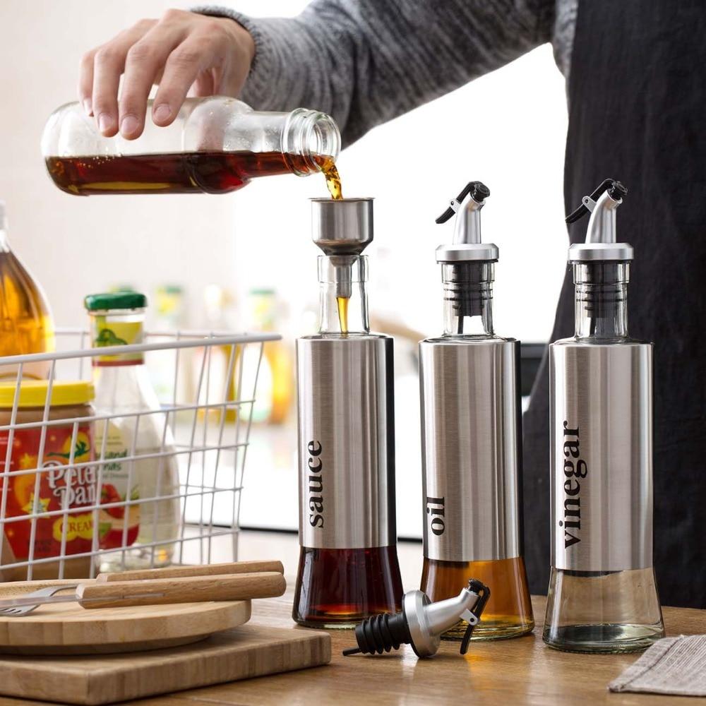 3 шт./компл. нержавеющая сталь + стеклянная Герметичная Бутылка для масла Бытовая бутылка для соевого соуса бутылка для приправ масло уксус горшок|Соусники|   | АлиЭкспресс