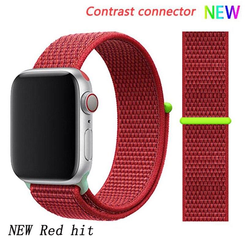 Спортивная петля ремешок apple watch band 42 мм 38 мм apple watch 4 3 band iwatch band 44 мм 40 мм correa pulseira 42 44 нейлоновый ремешок для часов - Цвет ремешка: NEW Red 9 hit