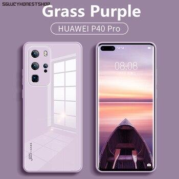 Перейти на Алиэкспресс и купить Оригинальный чехол из жидкого закаленного стекла для HuaWei P40 Pro Plus P30 Pro Nova 6 5G Nova 7 SE Pro, защитный чехол для сотового телефона