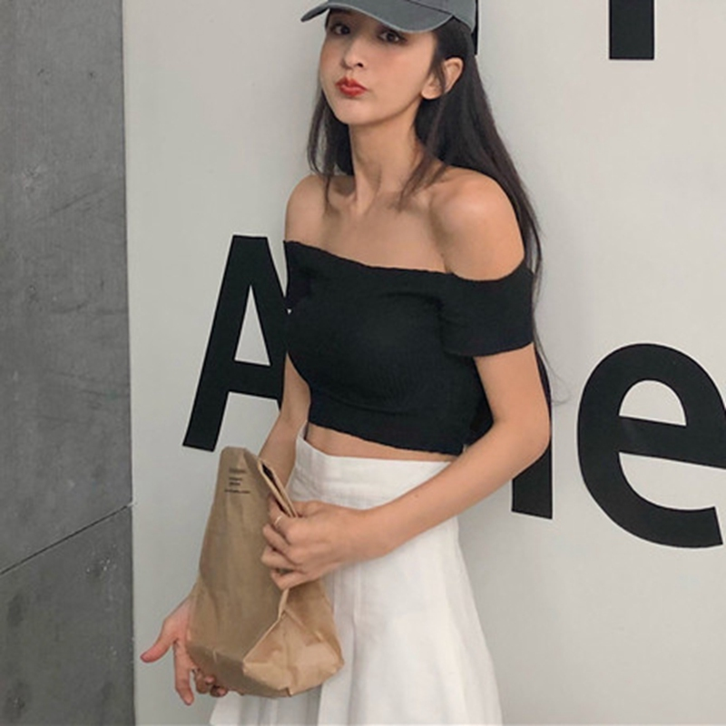 Autumn Fashion New Korean Sexy Tube Top Solid Color Slim Short Exposure Belly Button T-shirt