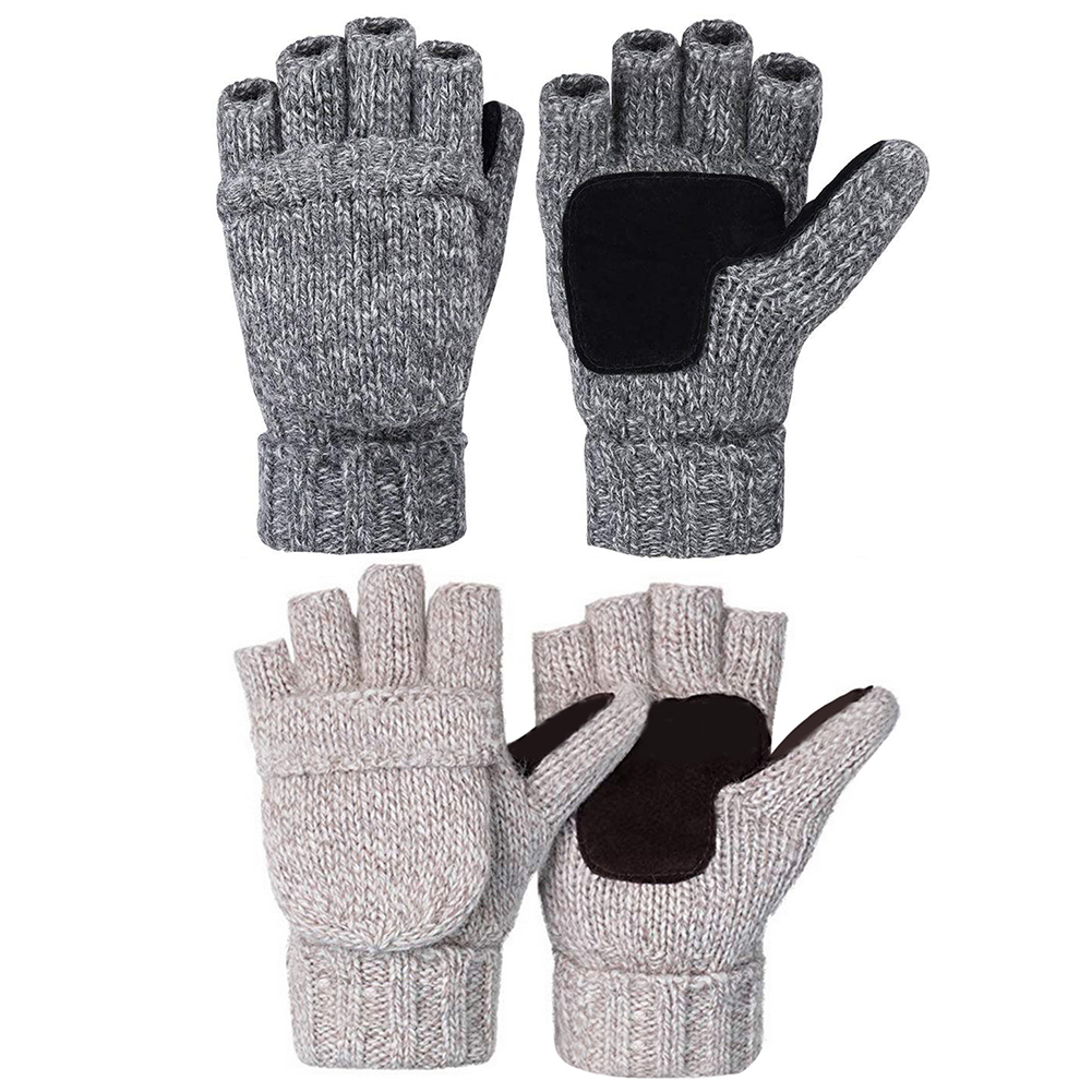 Wool Gloves with Half Finger Covered with Leather Pig Reverse Fleece Palm
