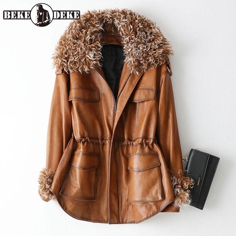 Elegant Ladies Winter Warm Fur Collar Down Coat Women Sheepskin Genuine Leather Jacket Adjust Waist Office Work Jaqueta Feminina