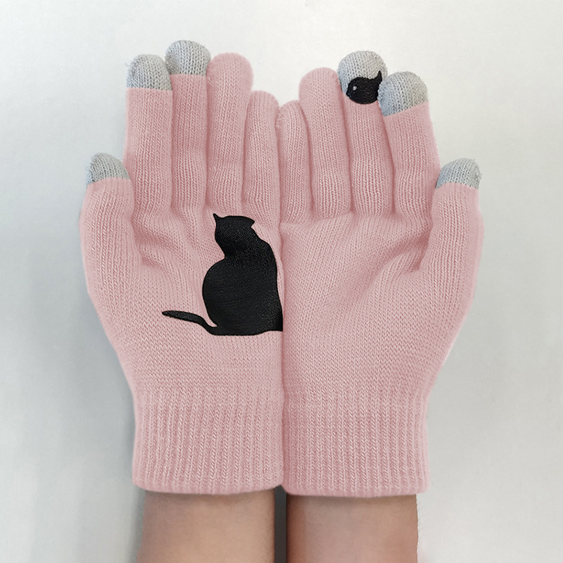 WEPBEL Winter Women Gloves Kawaii Cat Bird Printing Patchwork Woolen Keep Warm Gloves Fashion Casual Outdoor Sports