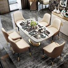 Обеденный стол, современный светильник, роскошный, простой, для дома, нордический мрамор, обеденный стол, стиль, мебель из нержавеющей стали