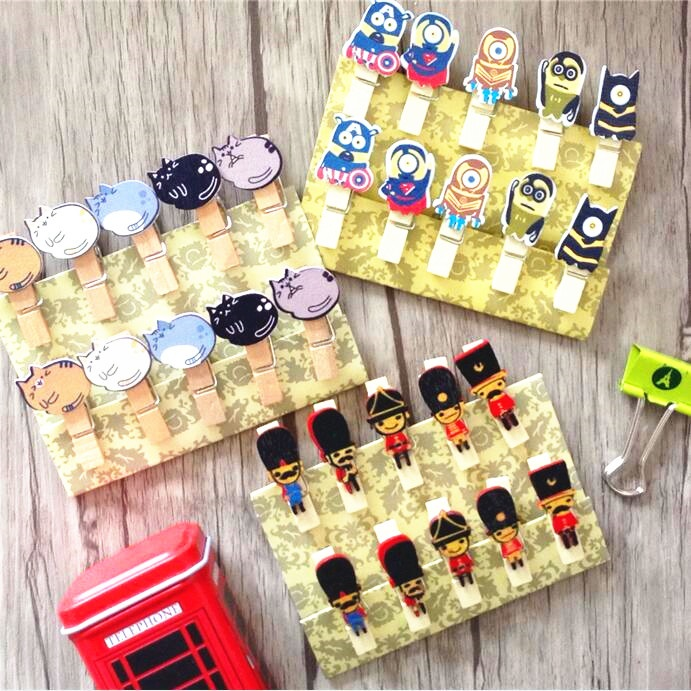10packs/Lot Kawaii Cartoon Cat Soldiers And Little Yellow Guys Three Design Series Stationery Clothespin Wholesale