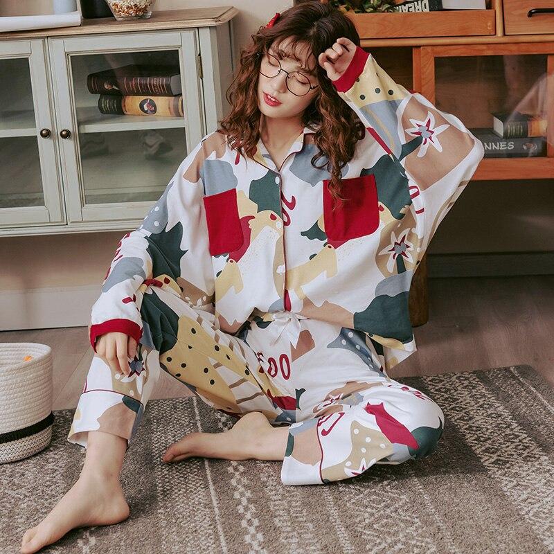 Image 3 - BZEL New Autumn Winter Sleepwear 2 Piece Sets For Women's Cotton Pajamas Turn down Collar Homewear Large Size Pijama Pyjama XXXL-in Pajama Sets from Underwear & Sleepwears on AliExpress