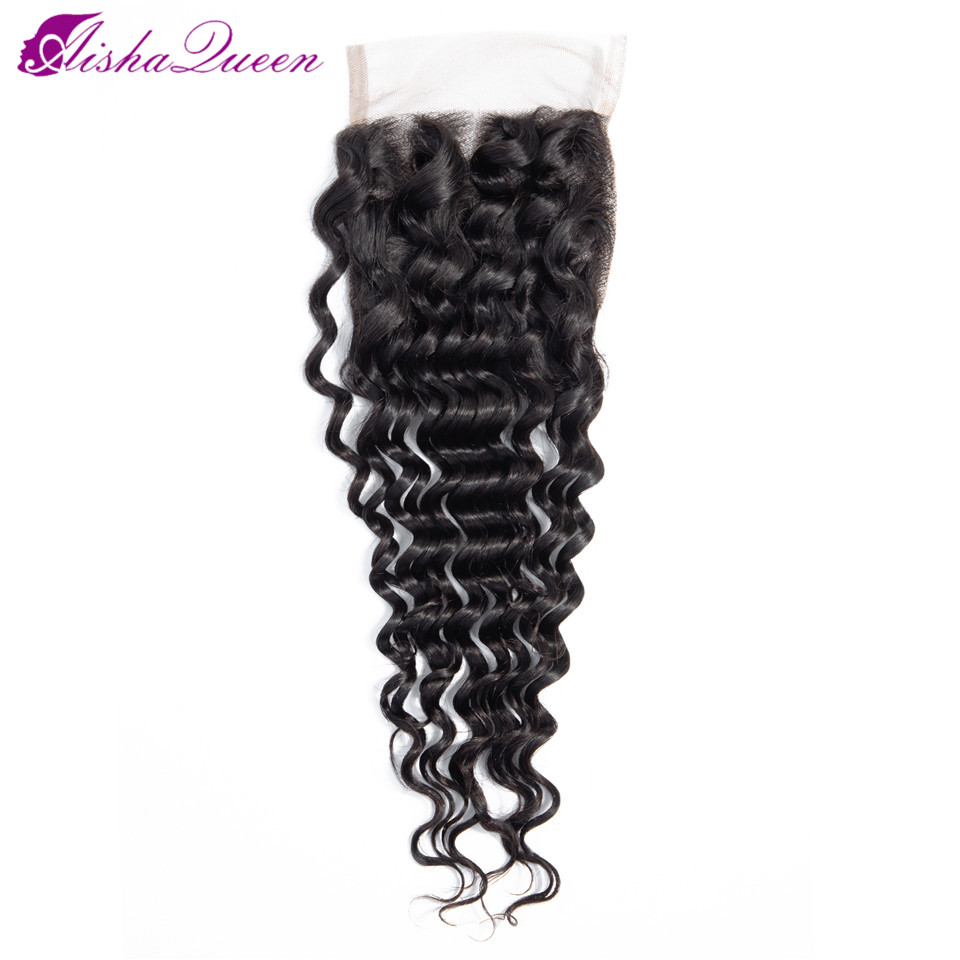 Aisha Queen Hair Deep Wave Hair Closure Non Remy Human Hair Swiss Lace Closure Brazilian Human Hair Closure Free Shipping