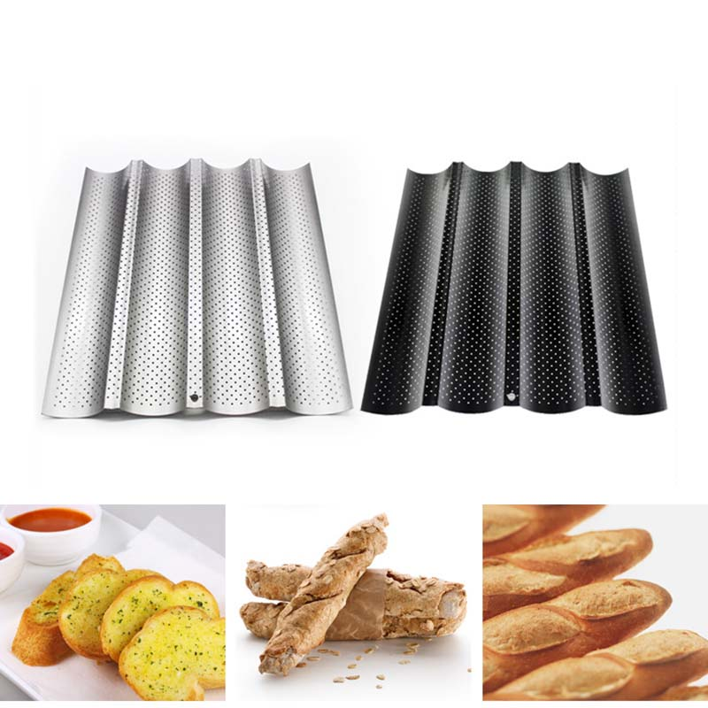French Bread Baking Mold Bread Wave Baking Tray Practical Cake Baguette Mold Pans 2/3/4 Groove Waves Bread Baking Tools|  - title=