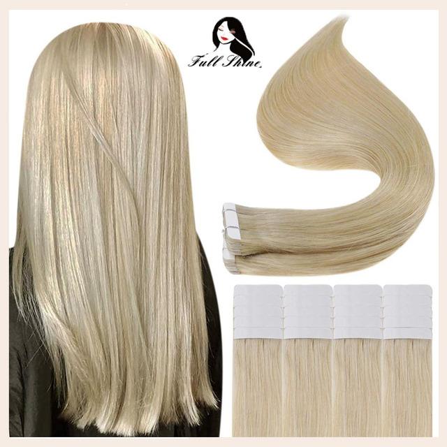 Pełna połysk taśmy w doczepy z ludzkich włosów czysty blond kolor 100g 40 sztuk blond prosto klej samoprzylepny na maszynie Remy kobiece włosy tanie i dobre opinie Full Shine CN (pochodzenie) 2 5 g sztuka TP-Pure Color-100g Nie remy włosy Straight Darker Color Only Brazilian Hair 100 Gram