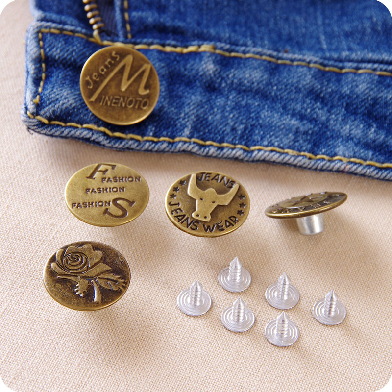 10Pcs Metal Thread Studs Jean Pants Coat Buttons Vintage Brass Flower Shape