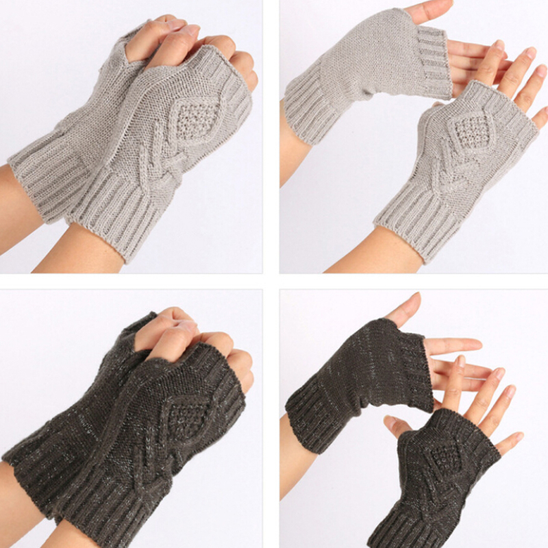 HOT 1 Pair Autumn Winter Women Warm Knitted Arm Fingerless Gloves Long Stretchy Mittens Men Women Hand Arm Warm Gloves