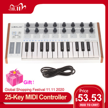 WORLDE MIDI Controller New Ultra Portable 25 Key Musical Keyboard Synthesizer Piano Keyboards Two Types of Support Midi Keyboard