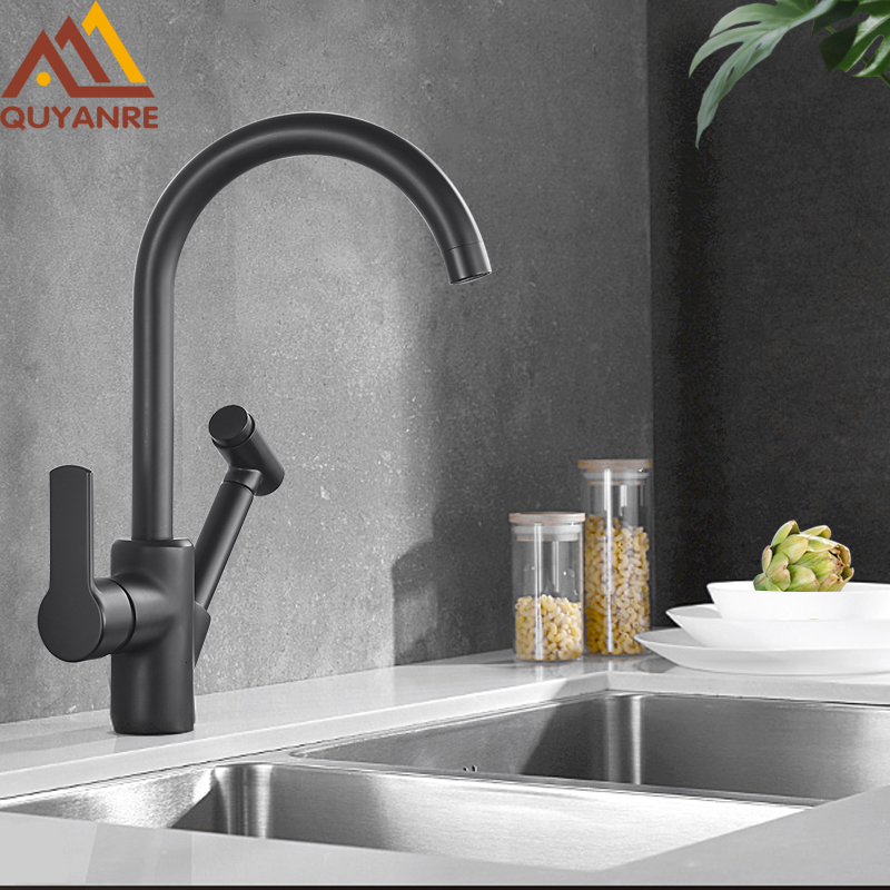 Black Kitchen Faucets Single Handle 360 Roratation Kitchen Sink Mixer Tap White Pull Out Water Crane For Kitchen Basin Mixer Tap