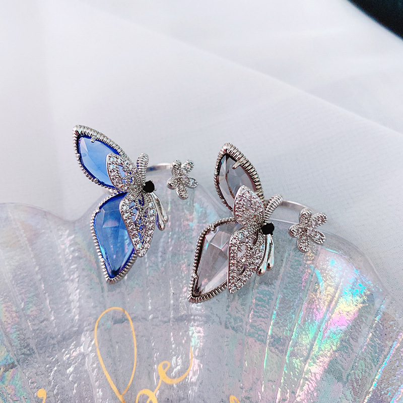 Statement Flower Butterfly Open Rings For Women 2020 New Trends Jewelry Personality Crystal Big Ring Adjustable Bijoux