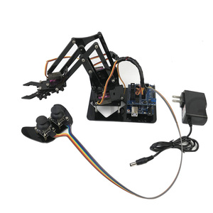Mechanical Kids Grab Claw Acrylic Learning Kit For Arduino 4DOF DIY MG90S Remote Control Robotic Arm Set Manipulator Toys