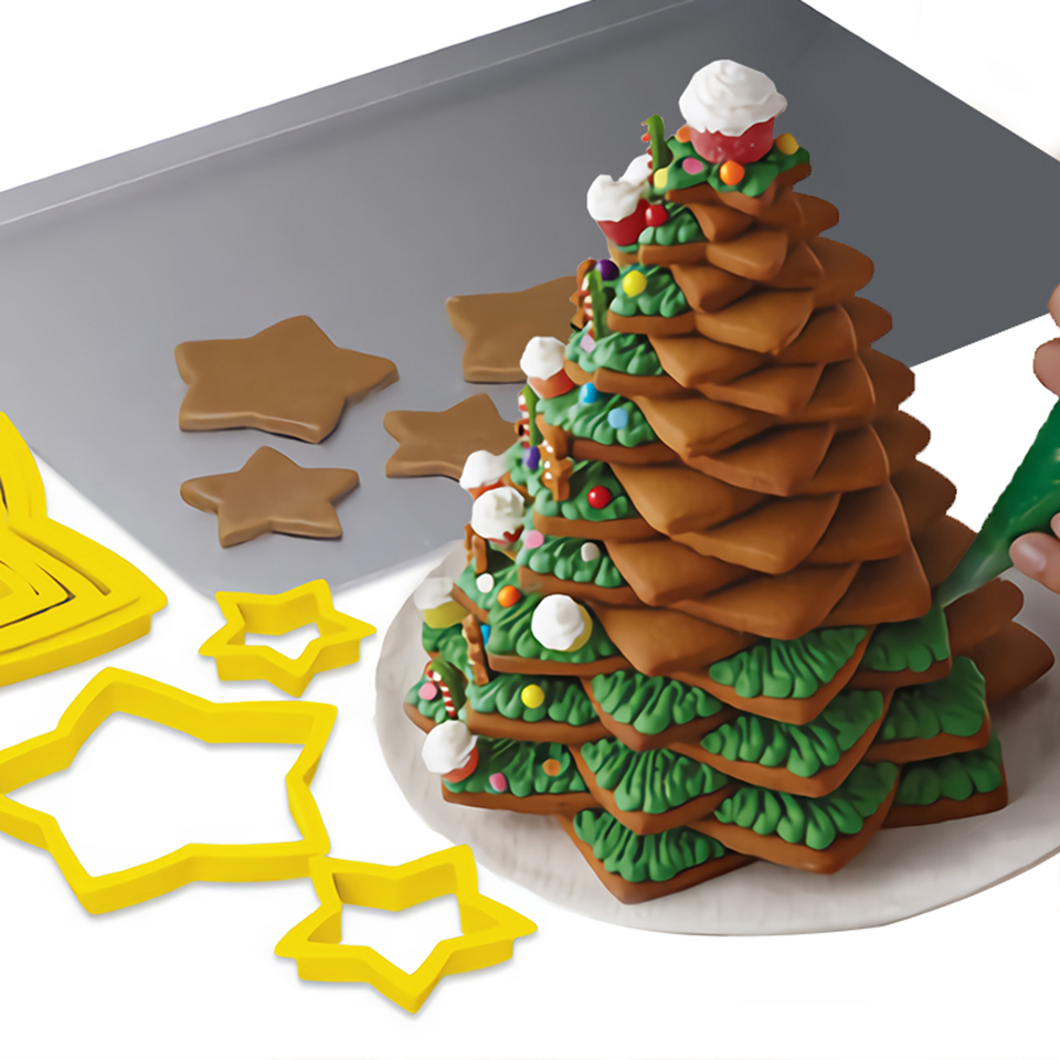 Transhome-Christmas-Cookie-Cutters-6Pcs-Set-3D-Plastic-Five-pointed-Star-Biscuit-Mold-DIY-Baking-Tools (2)