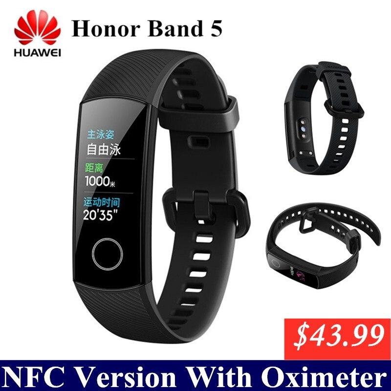 Huawei honor band 5 com nfc banda inteligente oxímetro tela colorida nadar acidente vascular cerebral detectar freqüência cardíaca monitor de sono banda honra 4 5