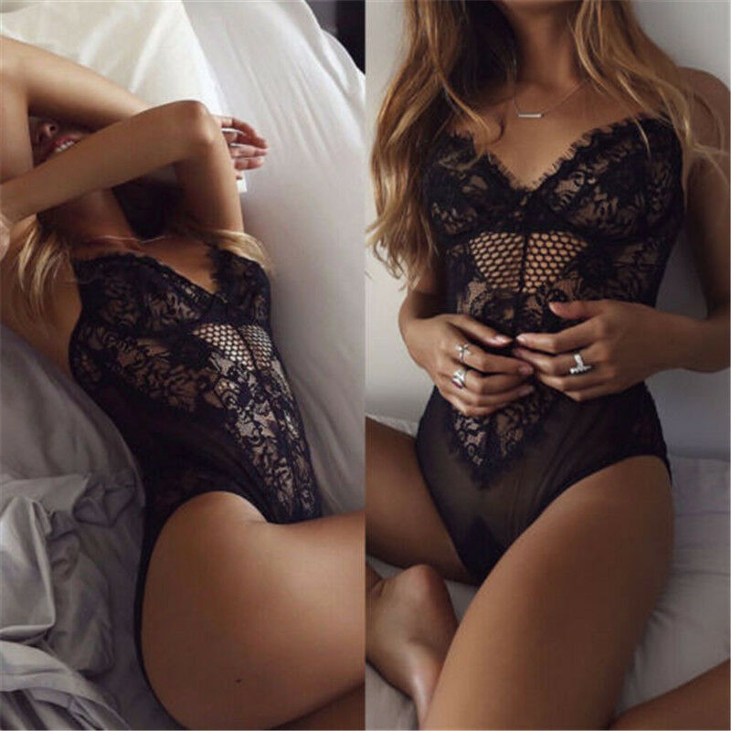 Sexy Womens Bodycon Lace Lingerie Bodysuit Strappy V Neck Leotard Jumpsuit Tops Openwork Embroidered Sleeveless Jumpsuit Briefs