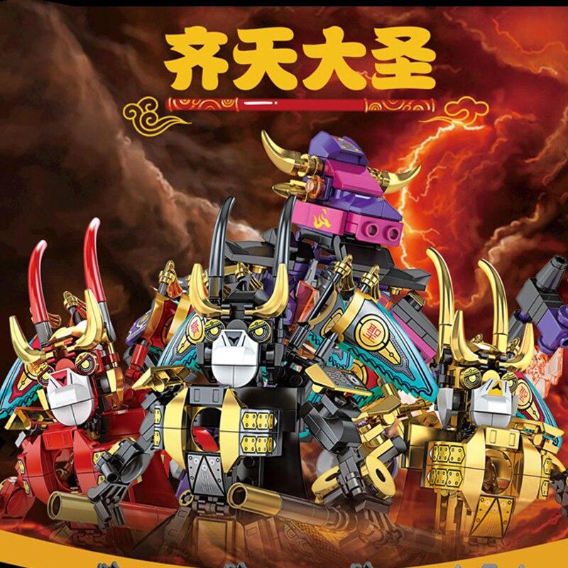 244 шт Король обезьян быка дьявол меха строительные блоки персонаж Фигурки игрушки для детей модель Рождественский подарок