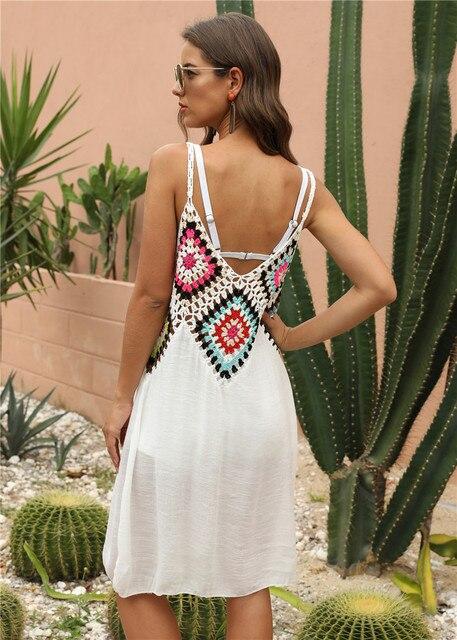 Crochet Beach Cover-ups Summer Tunic Cover Up Long Knitted Beachwear Swimsuit Ups for Women Vestido Playa Mujer White Dress 2021 3