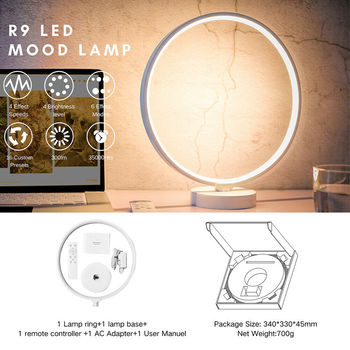 RGB Dimmable Bedside Circle Lamp Table Desktop Bedroom Nightstand Light 6 Lighting Modes I88 #1