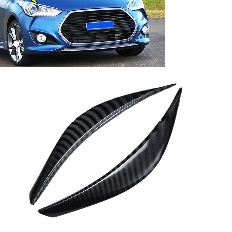 2Pcs Carbon Fiber Car Headlight Cover Eyebrows Car Head Light Cover Sticker Frame Protector for Hyundai Veloster 2011 2016