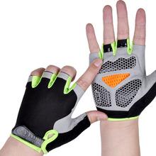 Silikonowe antypoślizgowe antypoślizgowe rękawiczki rowerowe mężczyźni kobiety pół palca rękawice oddychające Anti-shock rower sportowy rękawica rowerowa D40 tanie tanio CN (pochodzenie) COTTON Skóra syntetyczna Cycling Uniwersalny