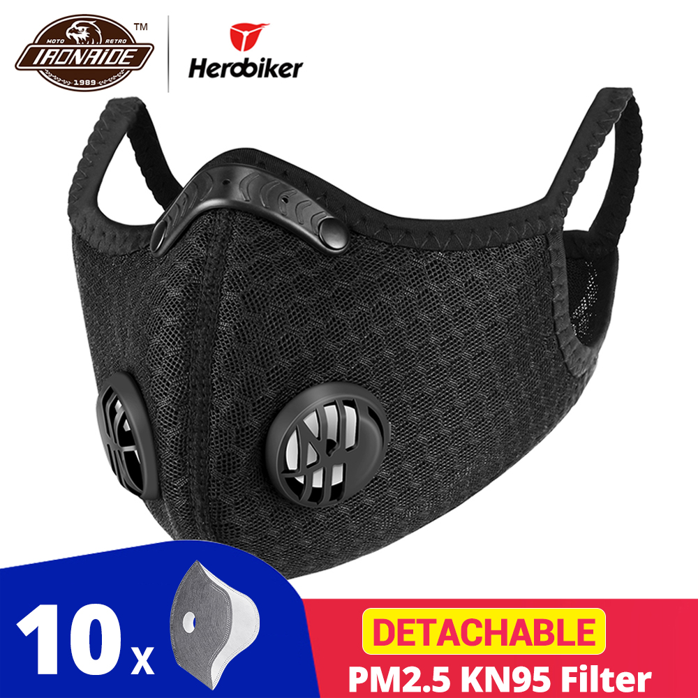 HEROBIKER Motorcycle Face Shield KN95 Filter Anit-fog Balaclava Dustproof Face Mask Cycling Sport Bike Sport Protection Mask