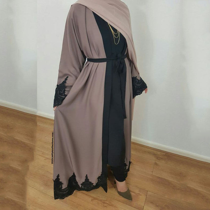 Women Khaki Cardigan Long Dress Muslim Abaya Worship Service Ramadan Eid Mubarak Islamic Clothing Women Plus Size Dress
