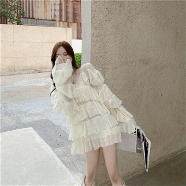 Фото платье женское трикотажное многослойное милый свободный пикантный цена