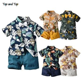 Top and Top Hawai Boy Clothing Set Summer Fashion Floral Short Sleeve Bowtie Shirt+Shorts Boy Casual Clothes Gentleman 2Pcs Suit