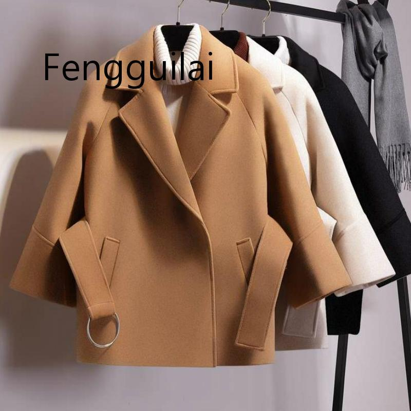 FENGGUILAI 2020 New Fashion Black  Beige Short Coat Women Short Woolen Coat Belt Jacket Winter Spring Autumn Coat