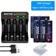 Akumulator AA 1.5v 3000mWh 1.5V AA akumulatory litowo-jonowe do latarki zabawki 1.5V akumulator AA