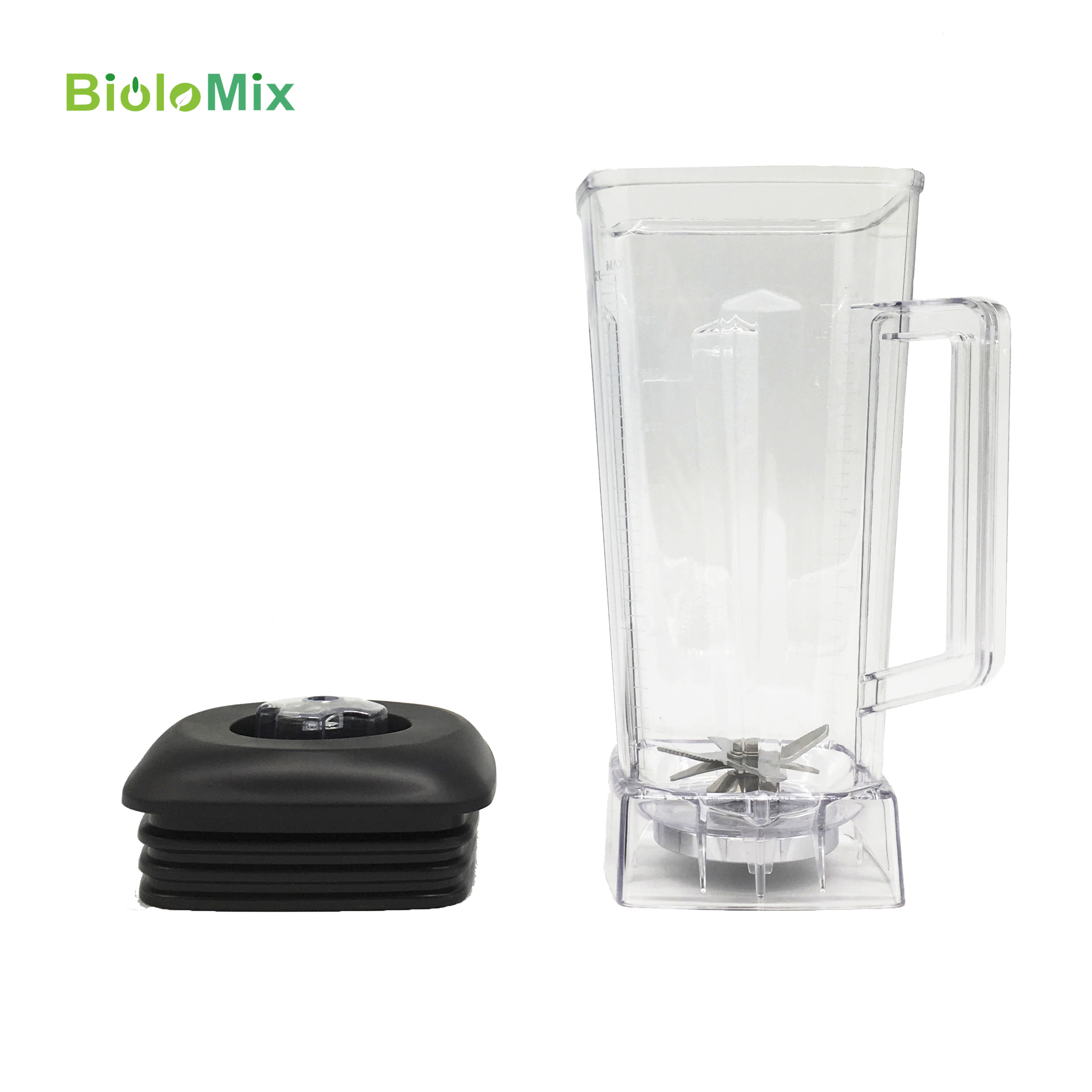 2L Square Container Jar Jug Pitcher Cup Bottom With Serrated Smoothies Blades  Lid BPA FREE For Commercial Blender Spare Parts